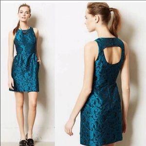 Anthropologie Tabitha Jacquard Mini Dress Blue 2